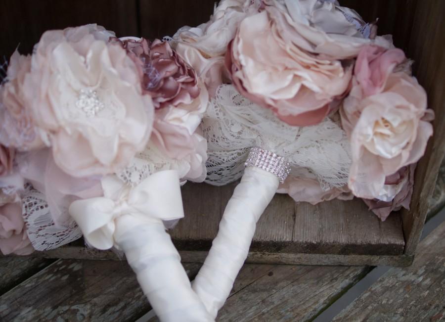 Wedding - Fabric Wedding Bouquet, pink bouquet, rhinestones pearl brooches, shabby chic, medium sized, taupe, white, ivory