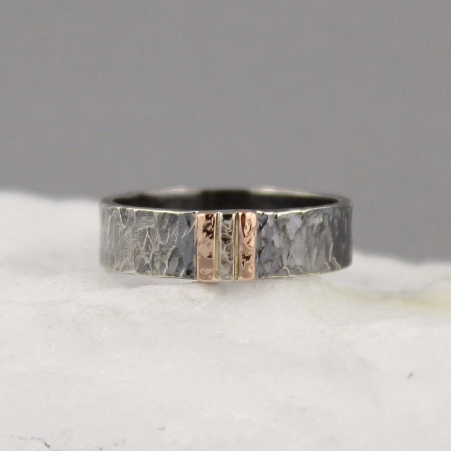 Solid Titanium Black IP And Hammered Center Wedding Band