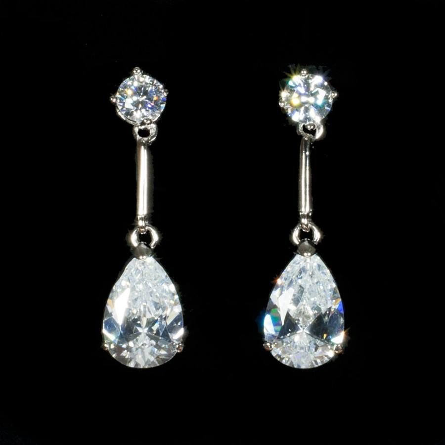 Mariage - Sterling Silver Cubic Zirconia Crystal Drop Earrings,Bridal Earrings, Real Silver, Dangle Earrings,Gifts for Her