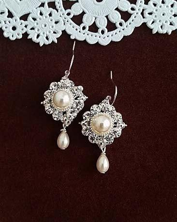 Mariage - Wedding Jewelry Bridal Earrings, Pearl Earrings Bridal, Wedding Earrings Teardrop, Bridal Wedding Earrings Crystal, Pearl Earrings Wedding
