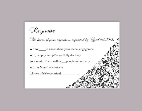 DIY Wedding RSVP Template Editable Text Word File Download Rsvp Template  Printable RSVP Cards Black Rsvp Card Template Elegant Rsvp Card  Free Rsvp Card Template