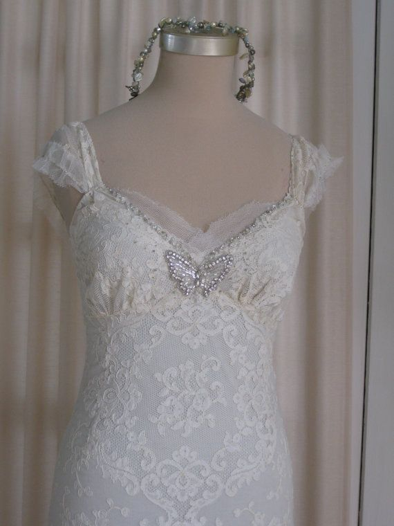 Rhinestone butterfly hand beaded vintage french lace hand for Hand beaded wedding dresses