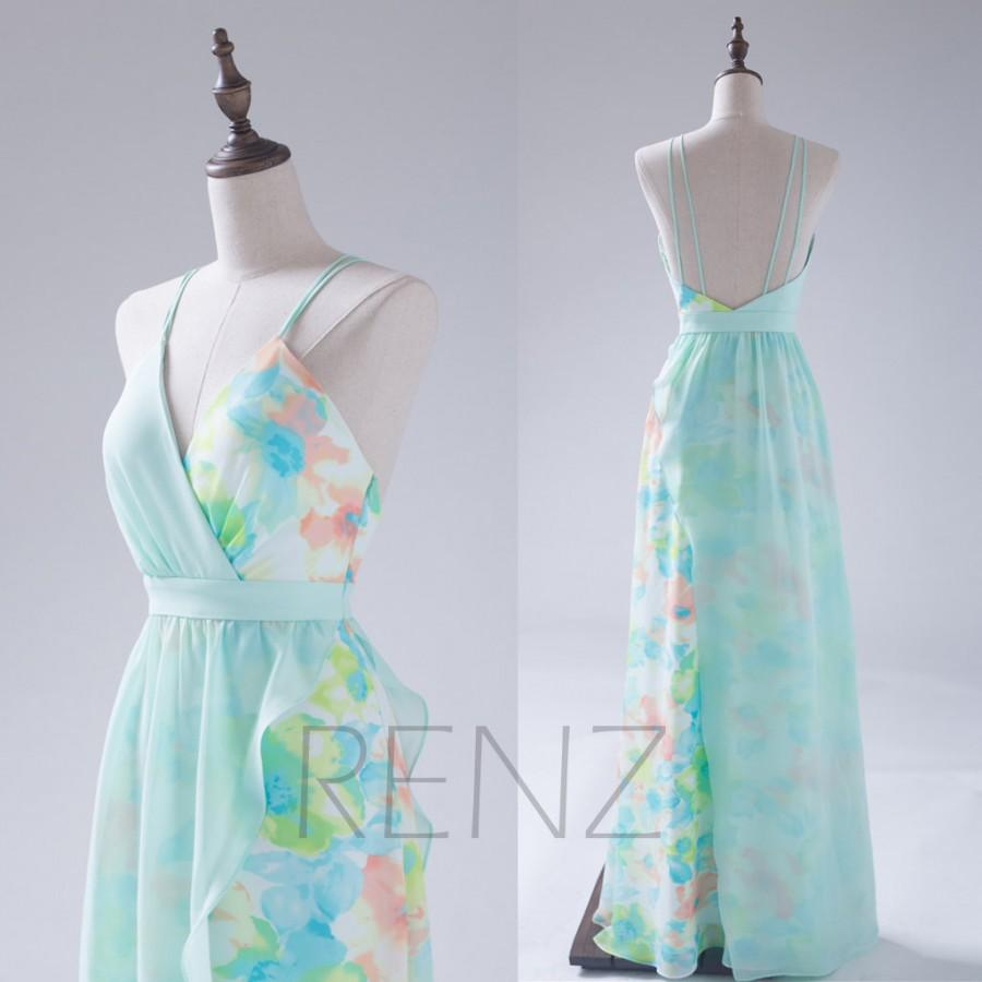 2015 Mint Bridesmaid Dress, Flower Print Chiffon Wedding Dress ...