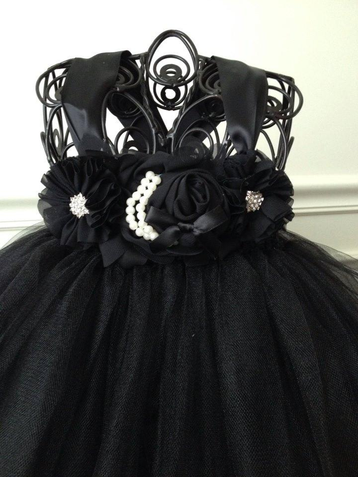 Свадьба - Black Flower Girl Tutu Dress