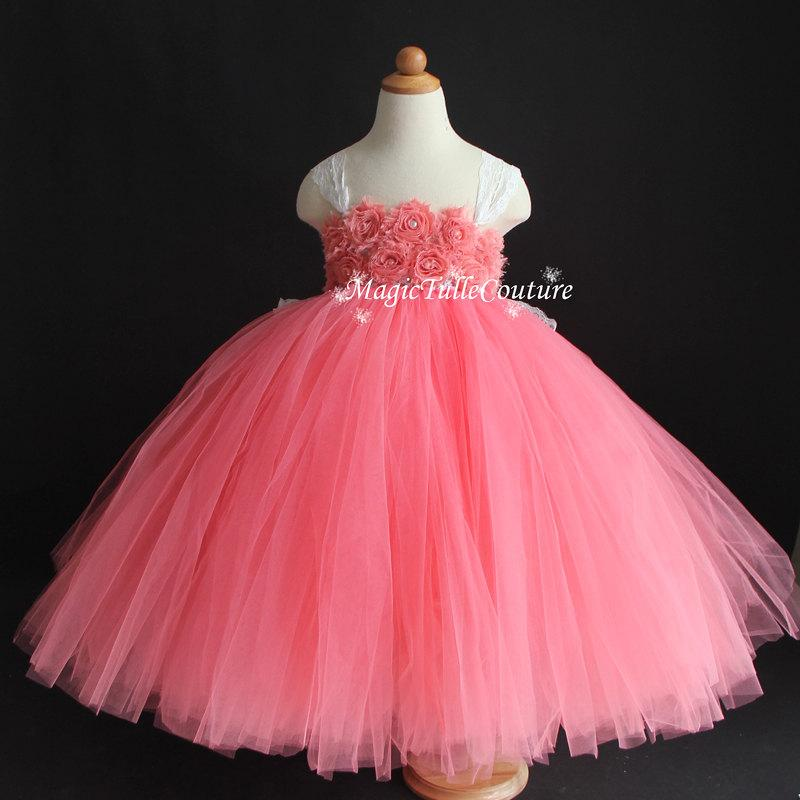 Mariage - Coral Flower Girl Dress Shabby Flowers Dress Tulle Dress Wedding Dress Birthday Dress Toddler Tutu Dress 1t 2t 3t 4t 5t