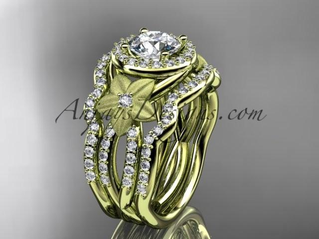 "Hochzeit - 14kt yellow gold diamond floral wedding ring, engagement ring with a ""Forever One"" Moissanite center stone and double matching band ADLR127S"