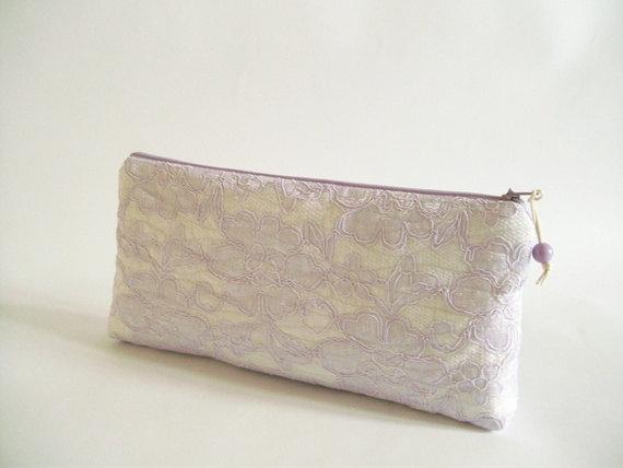 Mariage - Wedding Clutcheс Lilac Lace, Set of 6 Bags, Bridesmaids Lilac Purses, Evening Cosmetic Handbags