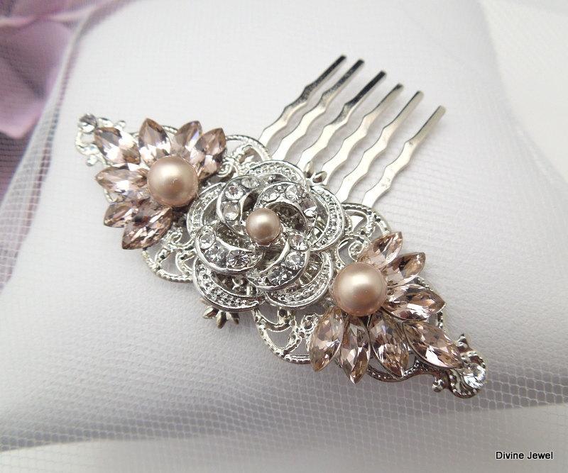 Mariage - Champagne Pearl Hair Comb,Bridal Pearl Rhinestone Hair Comb,Wedding Rhinestone Pearl Hair Comb,Rose Rhinestone Hair Comb,Pearl,Rose,ROSELANI