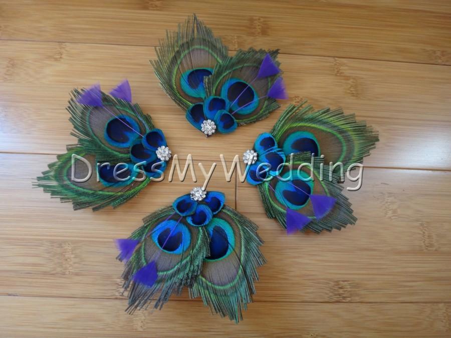Wedding - Peacock feather hair clips, customizable, SALE