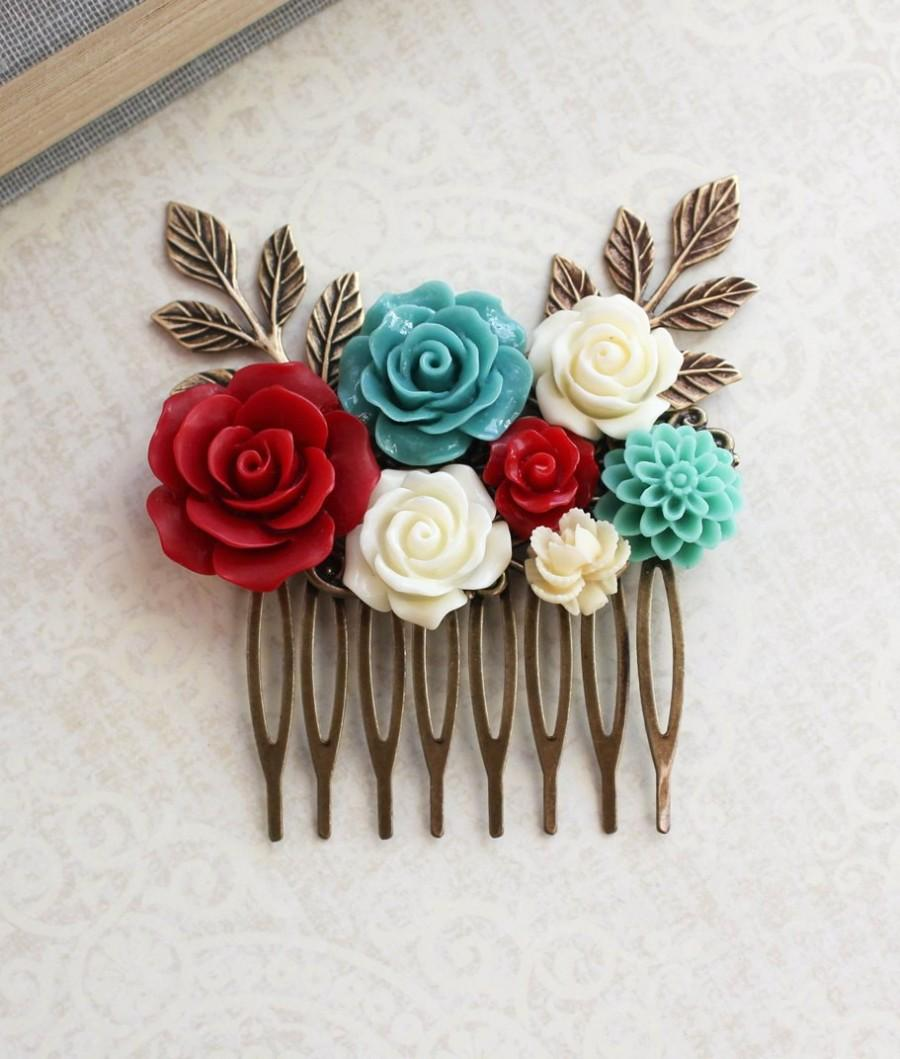 Mariage - Floral Bridal Comb Teal and Red Rose Hairpiece Boho Chic Wedding Branch Comb Ivory Cream Floral Hair Accessories Romantic Colorful Bridal