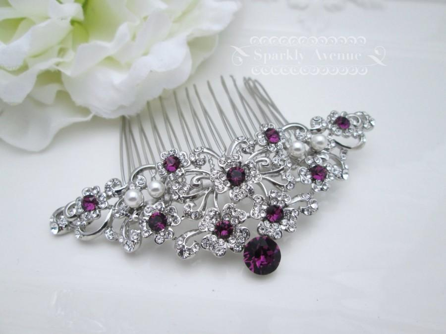 Mariage - Bridal Hair Comb Purple Hair Comb Flower Hair Piece Amethyst Swarovski Crystal Bridal Hair Piece Wedding Hair Accessory Leaf Bridal Clip Lou