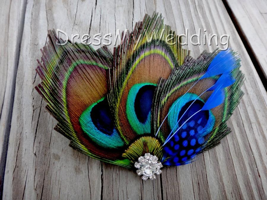 Düğün - Peacock hair clip, fascinator, hair accessories, replace the green/blue with your wedding color