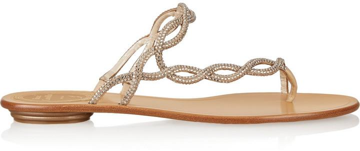 René Caovilla Crystal-Embellished Leather Sandals how much online excellent for sale clearance very cheap WvCNL