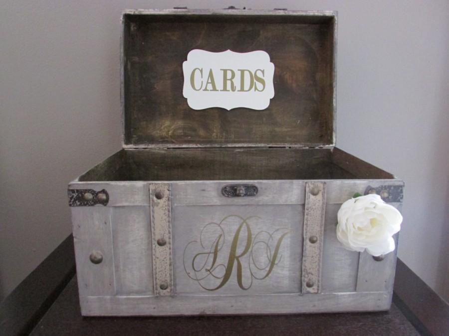 Vintage Wedding Card Box Rustic Large Trunk With Custom Monogram A1a