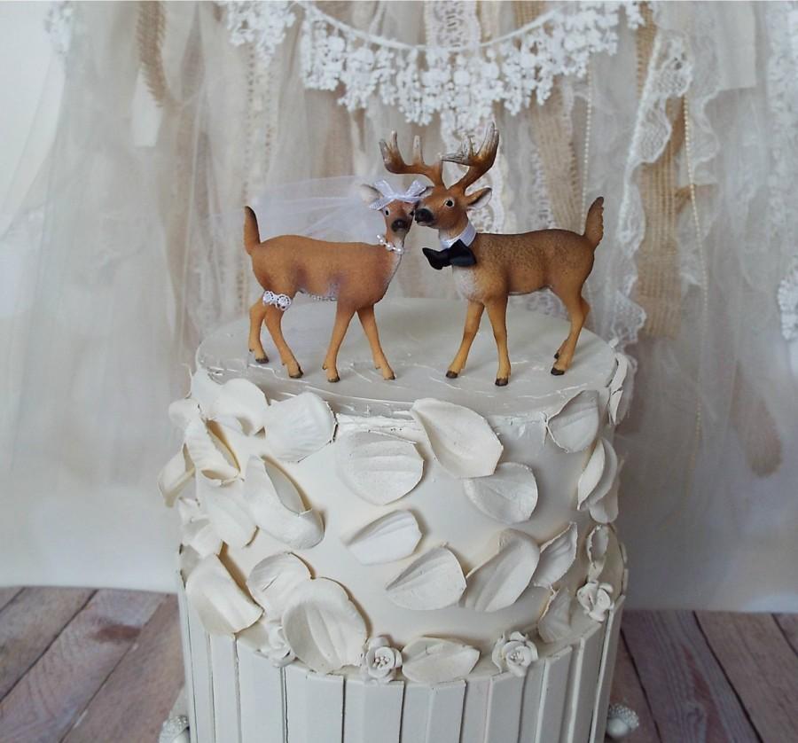 Mariage - deer-hunter-bride-groom-wedding-cake topper-camouflage-country-rustic-woodland-buck-doe-deer lover-hunting-fishing-woods-deer wedding-Mr Mrs