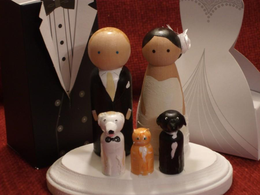 Свадьба - Custom Cake Toppers with Three Pets Fully Customizable---3-D Accents