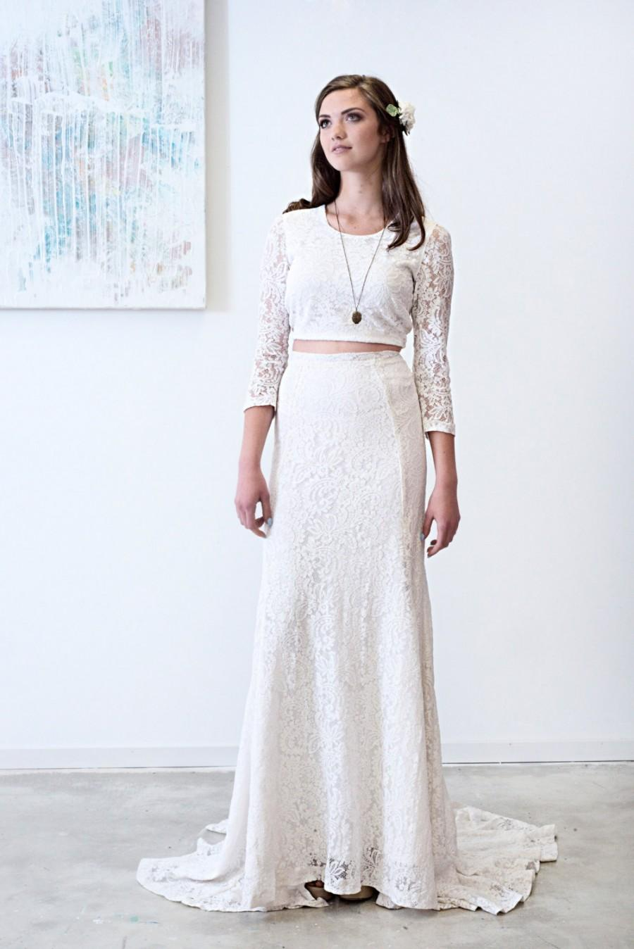Wedding - Joni // Boho Tea Dyed Long Sleeved Tie Back Lace Crop Top With High Waisted Fit and Flare Skirt