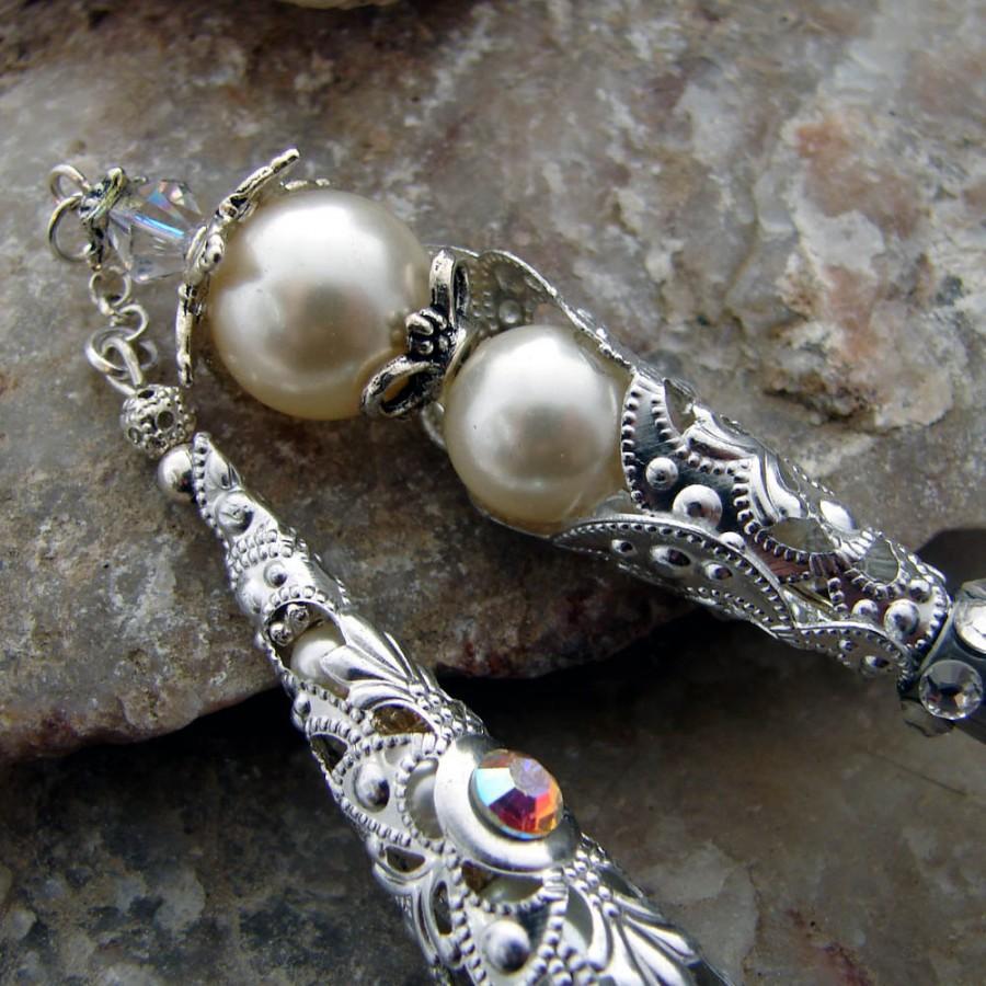 Hochzeit - Wedding Hair Stick Bridal Hair Pin Swarovski Crystal and Cream Pearls for the Bride - Wedding Hair Accessories - Nadine