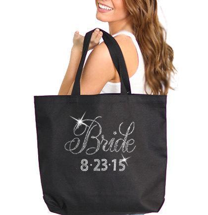 Mariage - Flirty Bride Tote: Personalized Black Bride Tote, Custom Bride Bag, Wedding Date Tote, Caryall