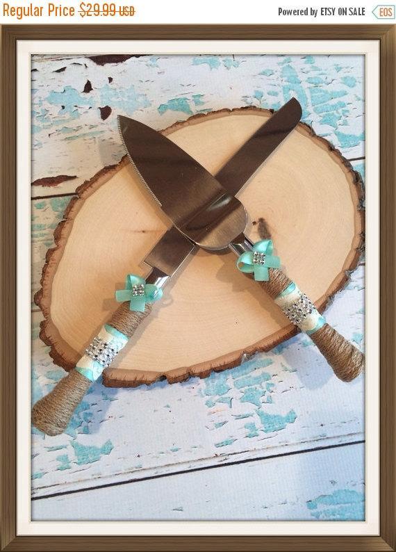 Black Friday Sale AQUA Blue Wedding Cake Knife Set Burlap Cutting Rustic Vintage Lace