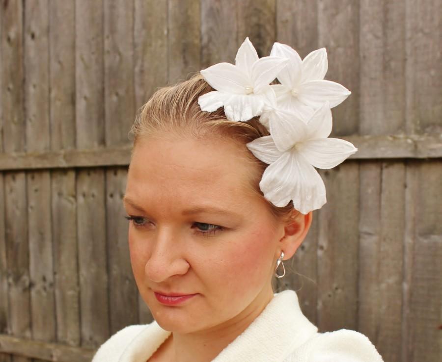 Mariage - White fascinator, orchid headband, white headdress, bridal fascinator, orchid headpiece, winter bride