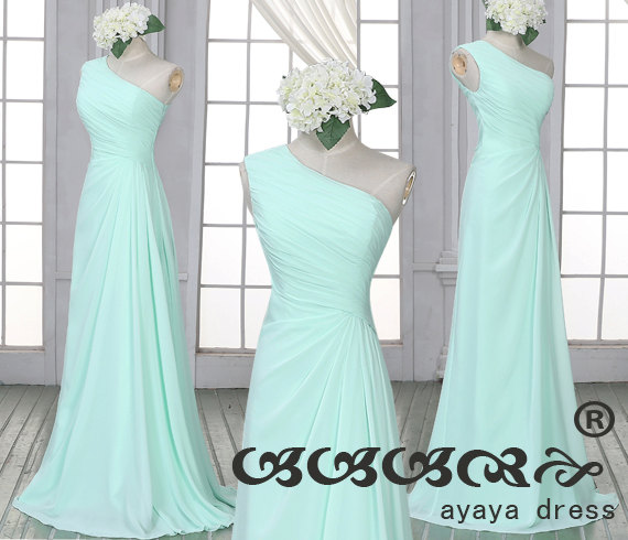 Mint Green Bridesmaid Dress One Shoulder Dresses Long Prom