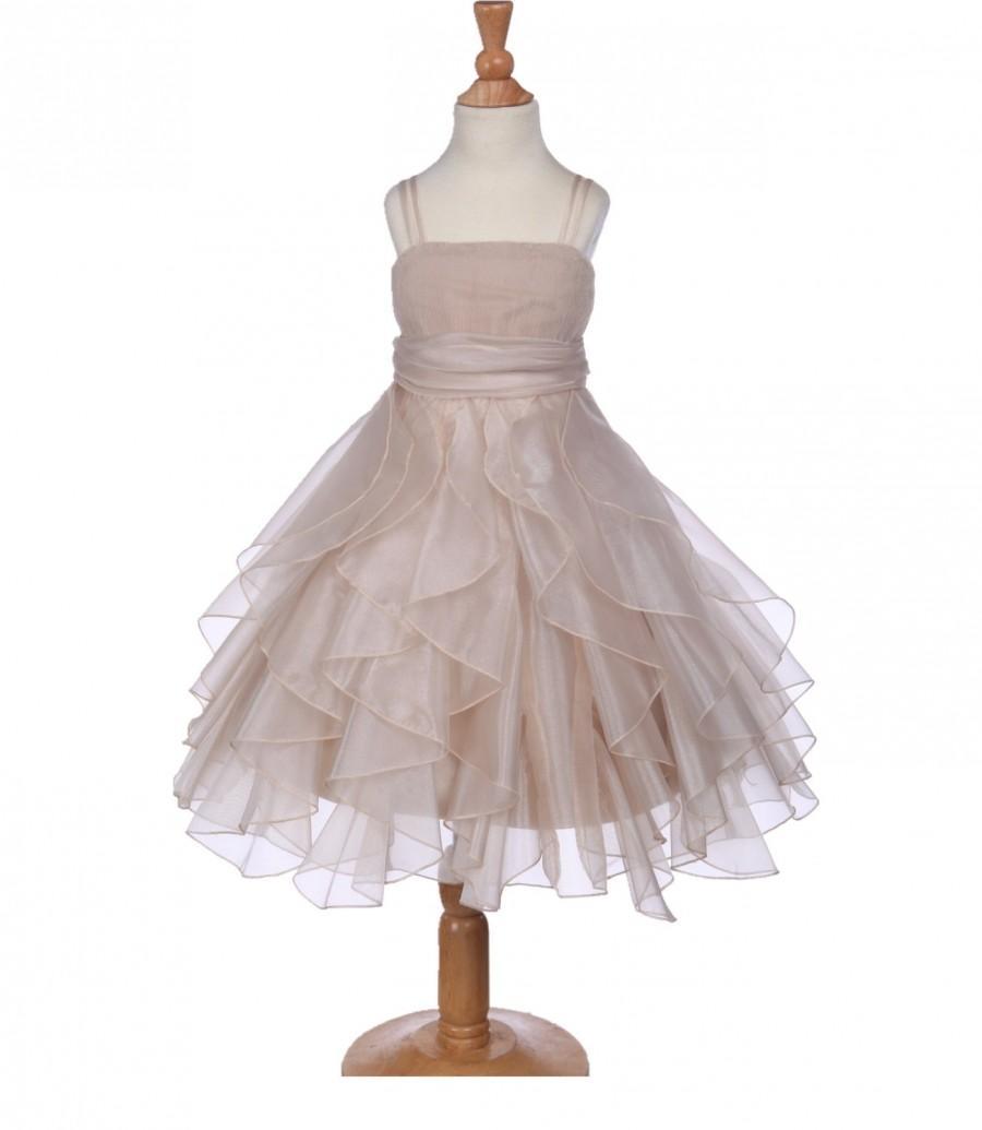 Mariage - Elegant Stunning Champagne Organza flower girl dress princess pageant wedding bridal bridesmaid toddler size 12-18m 2 4 6 8 9 10 12 14 #151