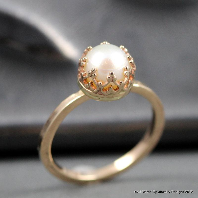 wedding 14k gold pearl ring pearl engagement ring sizes 3 12