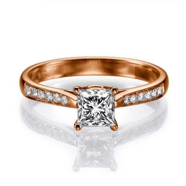 Mariage - Art Deco Engagement Ring, Princess Cut Ring, 14K Rose Gold Ring, 0.82 TCW Diamond Ring Vintage, Rose Gold Engagement Ring