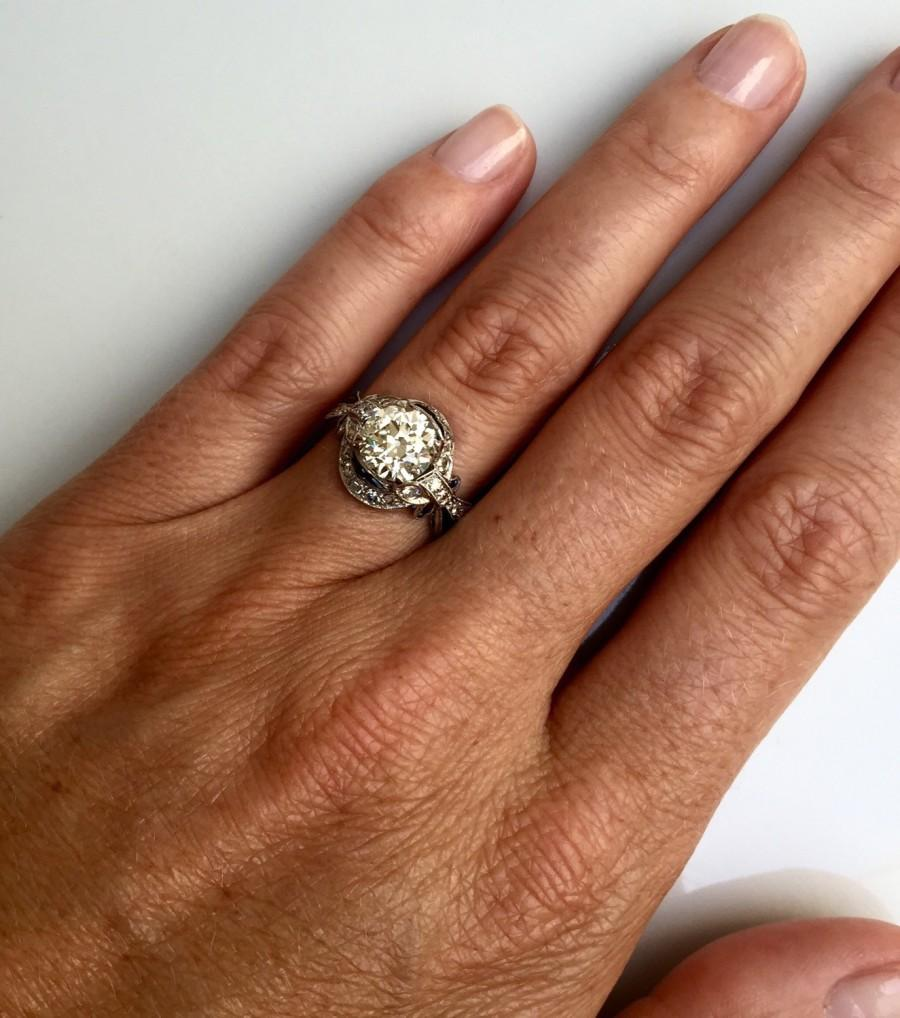 Mariage - Gratitude Sale 1920s Art Deco 2 carat European Cut Diamond set in its Original Platinum Mounting