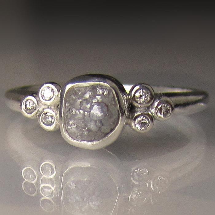 Свадьба - Raw Diamond Ring - Recycled Sterling Silver - Rough Diamond Ring - Uncut Conflict Free Diamond - sz 6.25