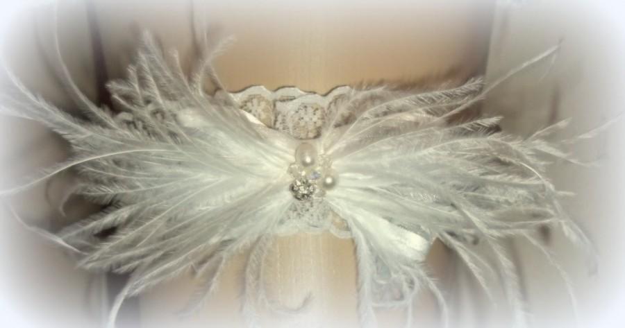 Свадьба - Garter,Wedding Garter, Bridal Garter, Feather Garter, Lace Garter, Brides Garter, Garters, Ivory Garter, White Garter, Gifts for Her