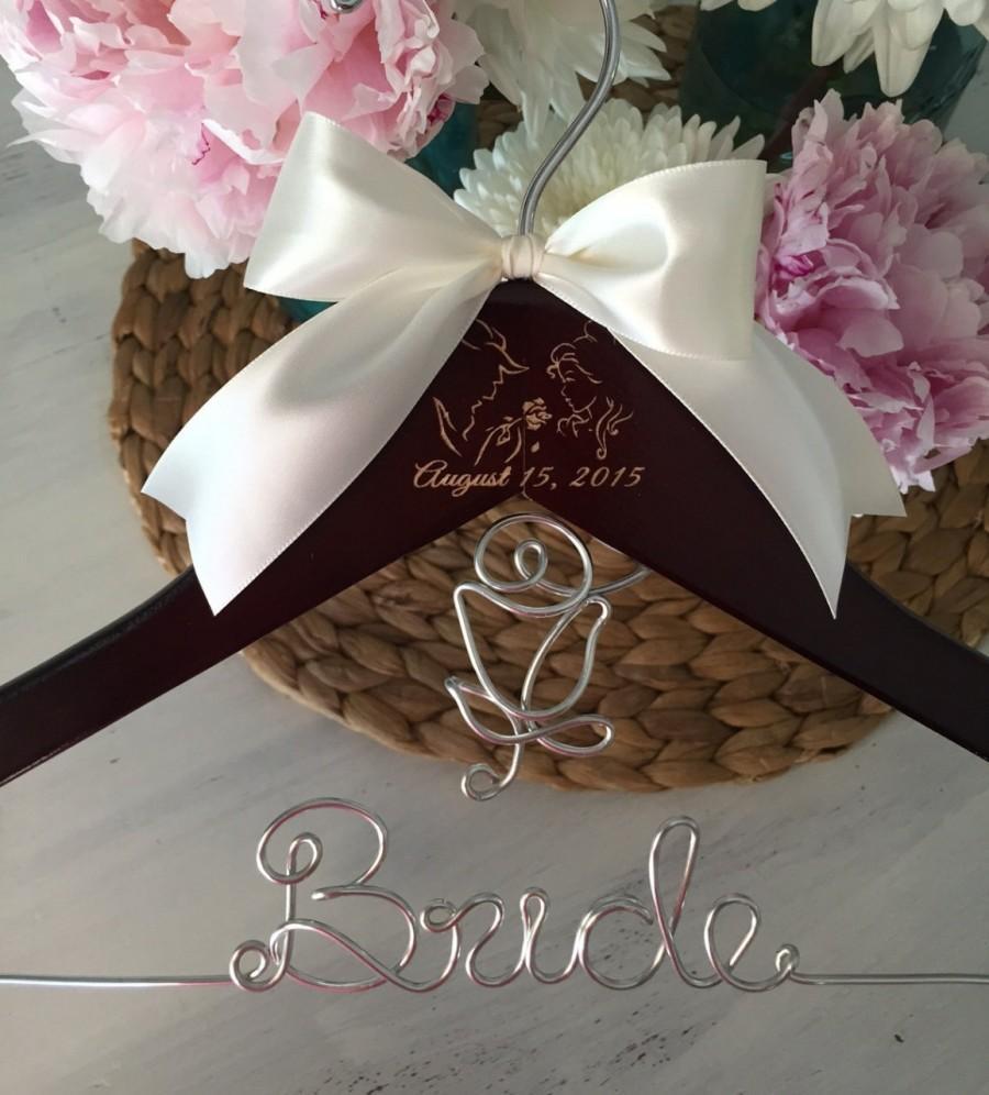 Mariage - Beauty & The Beast Hanger, Disney Wedding, Disney Bride Hanger, Wedding Hanger, Personalized Hanger, Bridal Hanger, Beauty and Beast theme