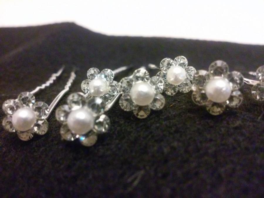 Mariage - 6pcs Wedding Bridal Clear Crystal Pearl Hair Pins Hair Accessories silver