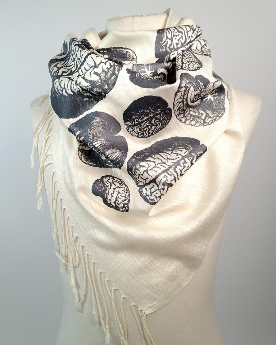 "Mariage - Anatomical Brain scarf. Cream linen weave pashmina. ""Brainstorm,"" steel gray silkscreen print. More colors available! Neuroscience gift."