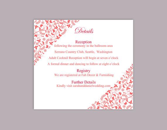 Hochzeit - DIY Wedding Details Card Template Editable Text Word File Download Printable Details Card Red Details Card Elegant Information Cards