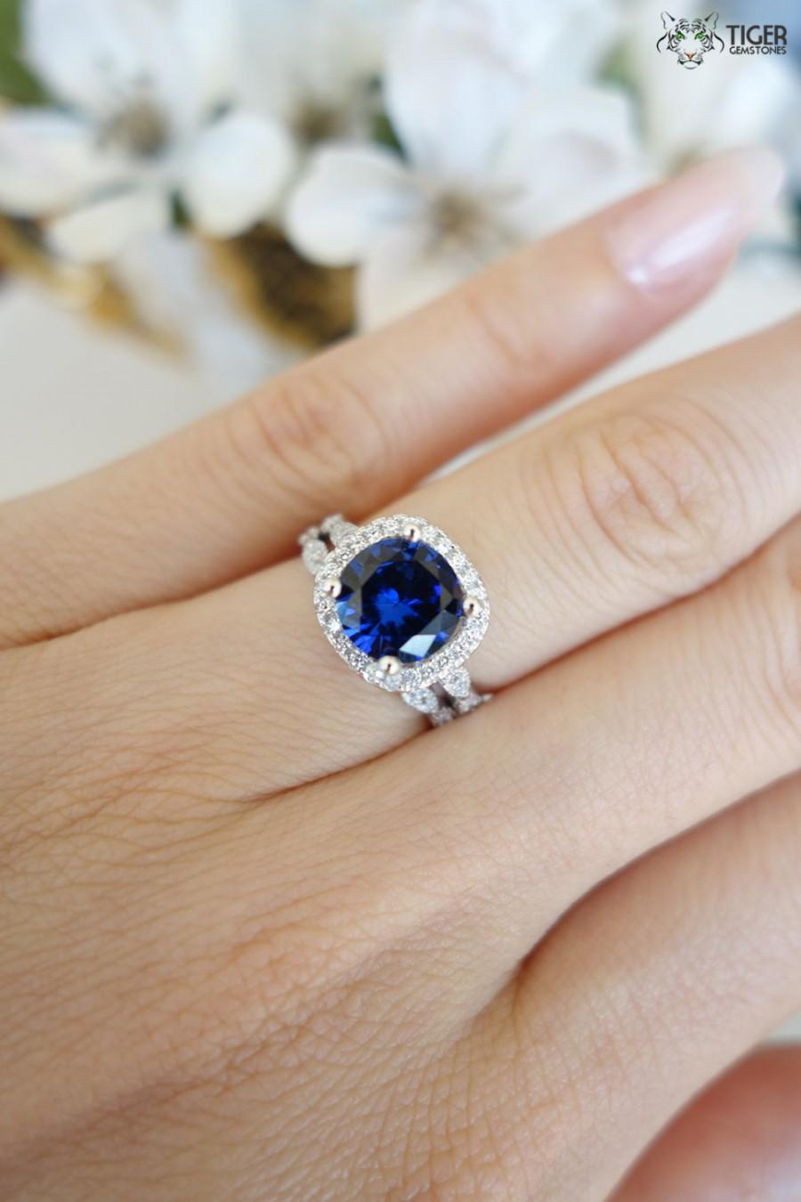Sapphire Engagement Ring And Wedding Band Set 225 Carat Halo Wedding Set Vintage Bridal Rings Man