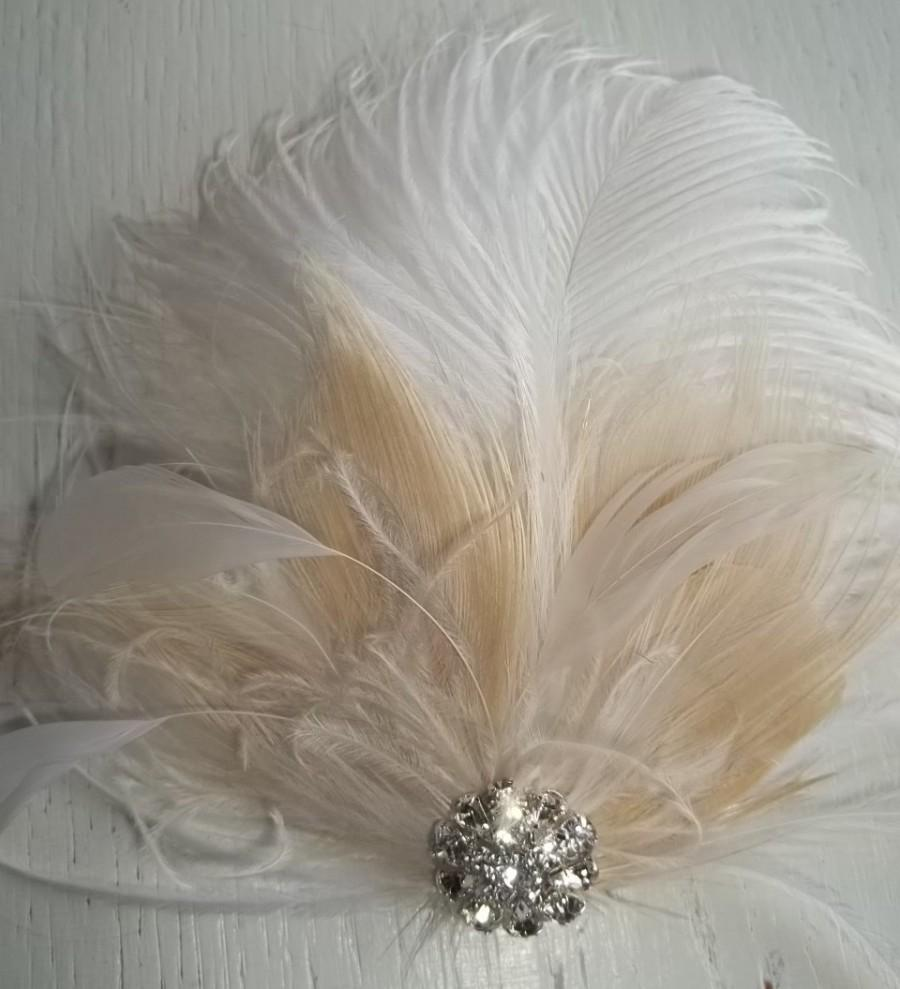 Wedding - Wedding Bridal Fascinator, Feather Hair Clip, White and Ivory, Bridal Hair Fascinator, Rhinestones Vintage Style, Weddings, Prom, Dance