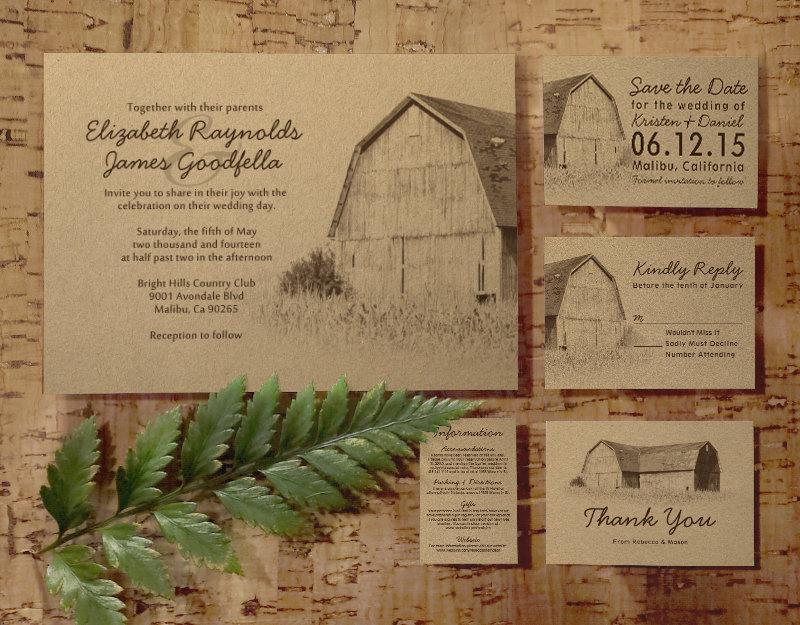 simple farm wedding invitation set/suite, invites, save the date, Wedding invitations