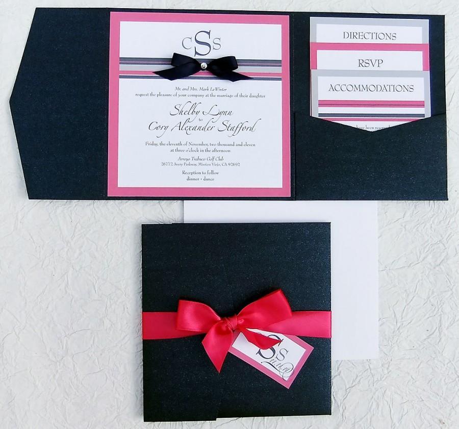 Mariage - Ribbon + Rhinestone Wedding Invitation -- Pocket Invitation Suites, Satin Ribbon, Nautical Stripes, Hot Pink + Navy