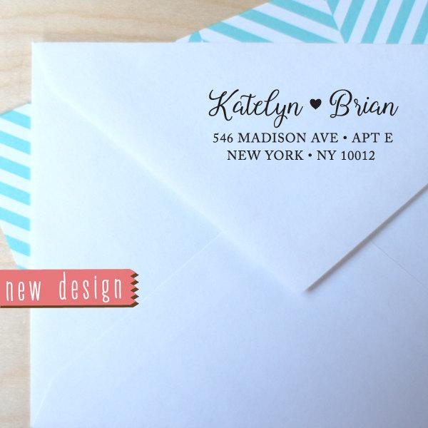 Mariage - custom PRE INKED address stamp with proof from USA, pre inked custom address stamp, return address stamp, address stamp with heart b5-83