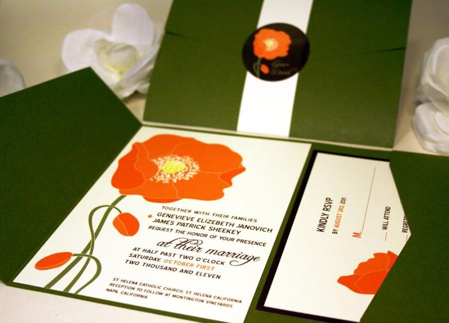 Mariage - Orange Poppy Wedding Invitation, Green Pocketfold Suite, Floral Invite Set, Red Country Wedding Outdoor Destination Flower, Cheap Invitation