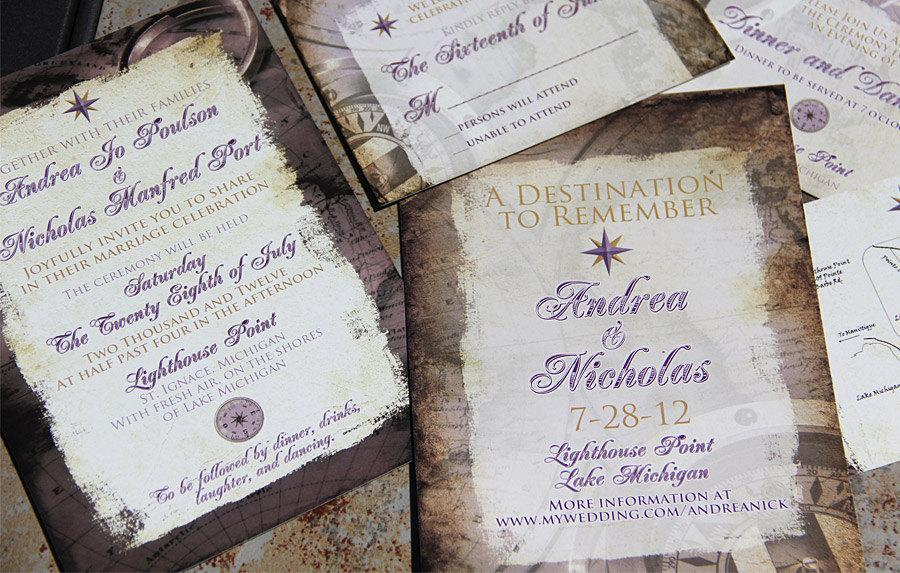 Vintage Destination Wedding Invitations Travel Themed Wedding Invitation Antique Destination