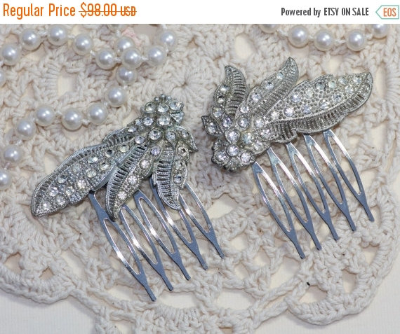 Mariage - SALE Original Pair Art Deco Fur Clip to OOAK Bridal Hair Combs,Silver Paved Designer Fur Clip,Rhinestone,Vintage Repurposed Dress Clips,Flor
