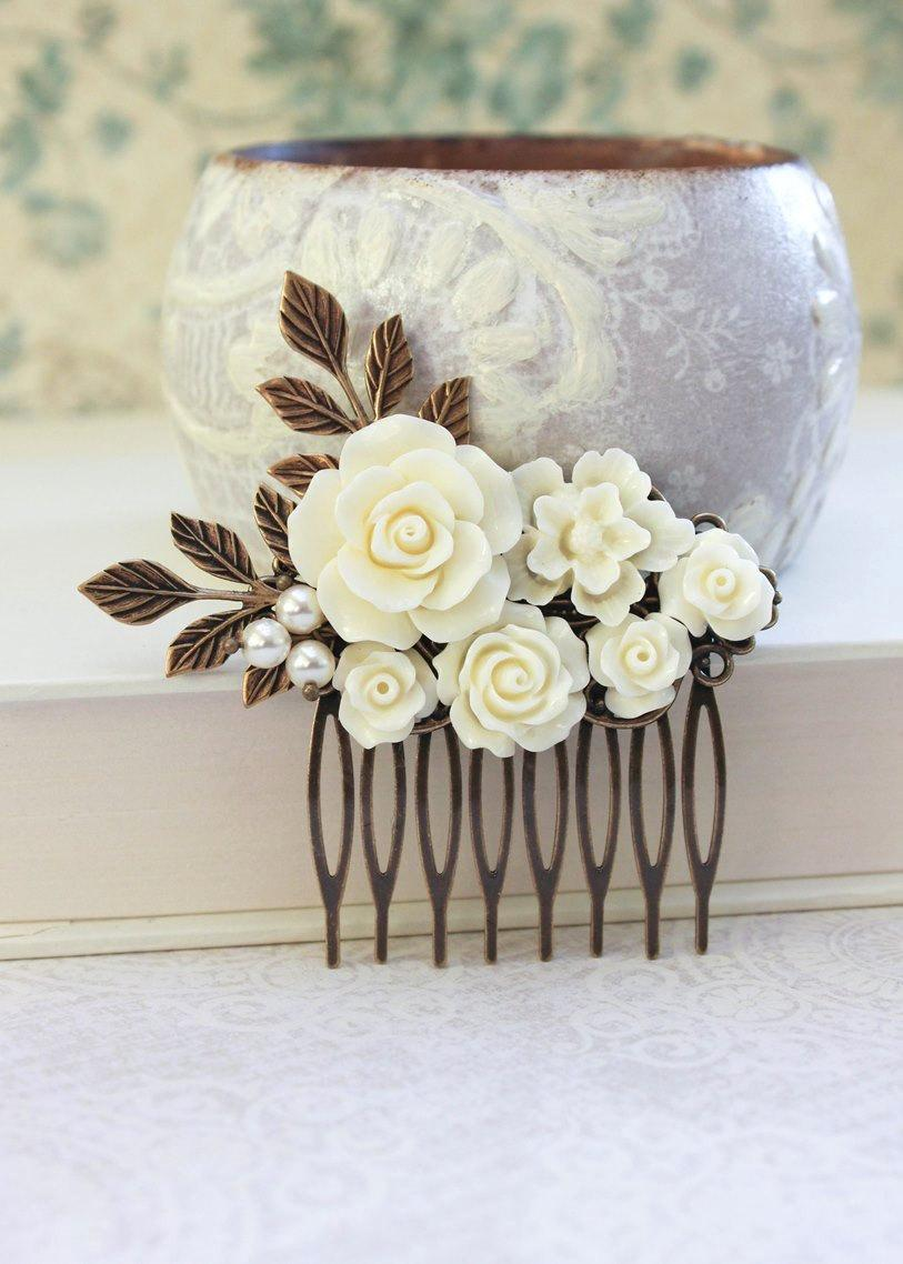Свадьба - Bridal Hair Comb White Rose Comb with Branches and Pearls Floral Hair Accessories Romantic Weddding Bridemaids Gifts Brides Hair Piece