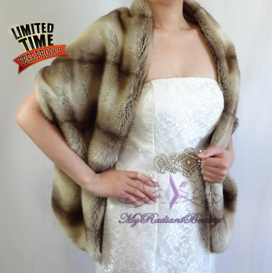 "Hochzeit - Faux Fur Wrap, Bridal Brown Chinchilla Faux Fur Long Wrap, Mink Fur Shrug, Faux Fur Stole, Faux Fur Shawl, Bridal Stole 62"" LW108-BROWNCHIN"