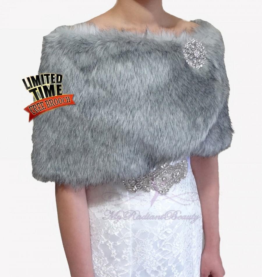 Wedding - Bridal Shrug, Bridal Wrap, Faux Fur Shawl, Grey Chinchilla Faux Fur Wrap, Wedding Fur, Bridal Fur Stole, Bridal Fur Shrug, FW108-GREYCHIN