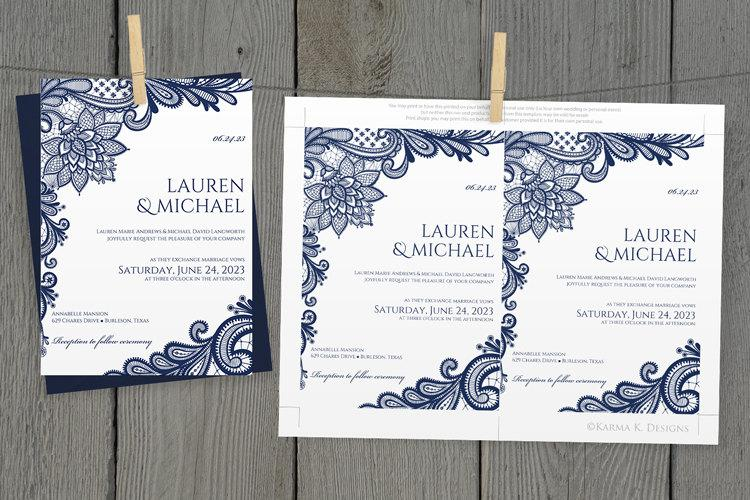 DiY Wedding Invitation Template   Download Instantly   EDITABLE TEXT    Ornate Lace (Navy Blue)   Microsoft® Word Format