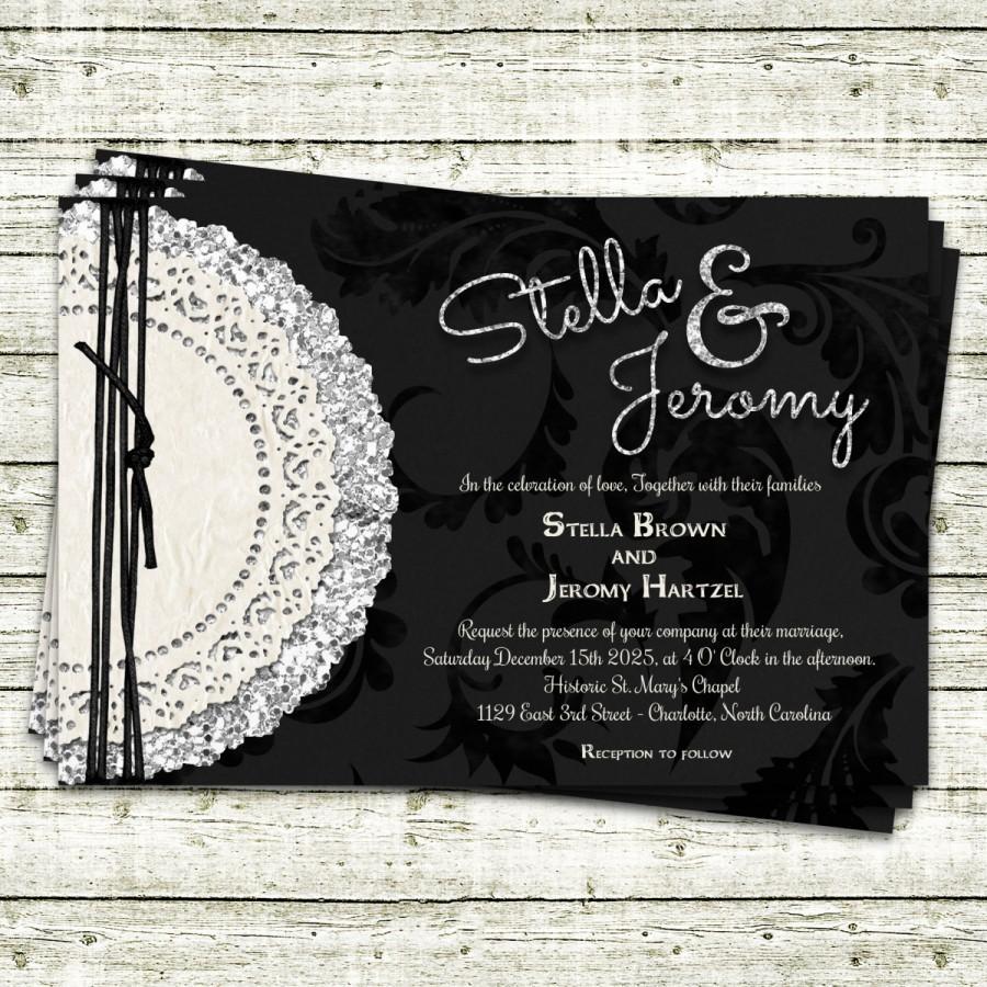 Mariage - Stella & Jeromy - Glitter and Lace Wedding Invitation