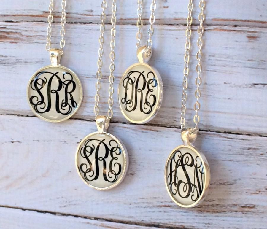 Monogramed Wedding Gifts: Silver Monogram Necklace, Monogrammed Gifts, Bridesmaid